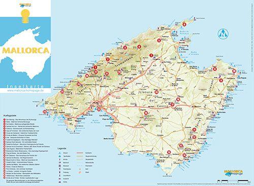 Mallorca Karte Umriss.Mallorca Karte Mit Urlaubsorten Stranden Und Sehenswurdigkeiten