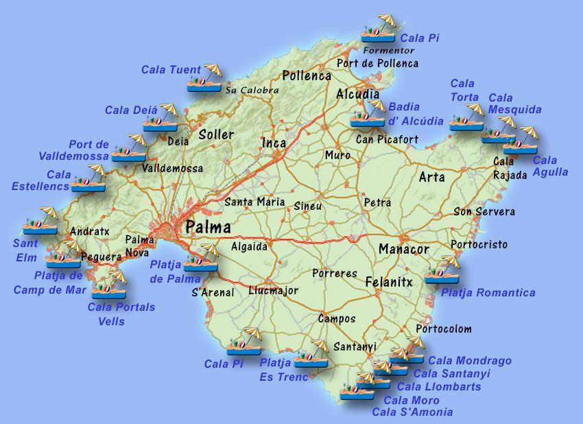 Mallorca Karte Strande.Strande Mallorca Karte Kleve Landkarte